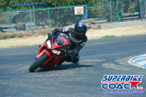 Superbike-Coach student Vance on our Little 99 Raceway in Stockton, CA