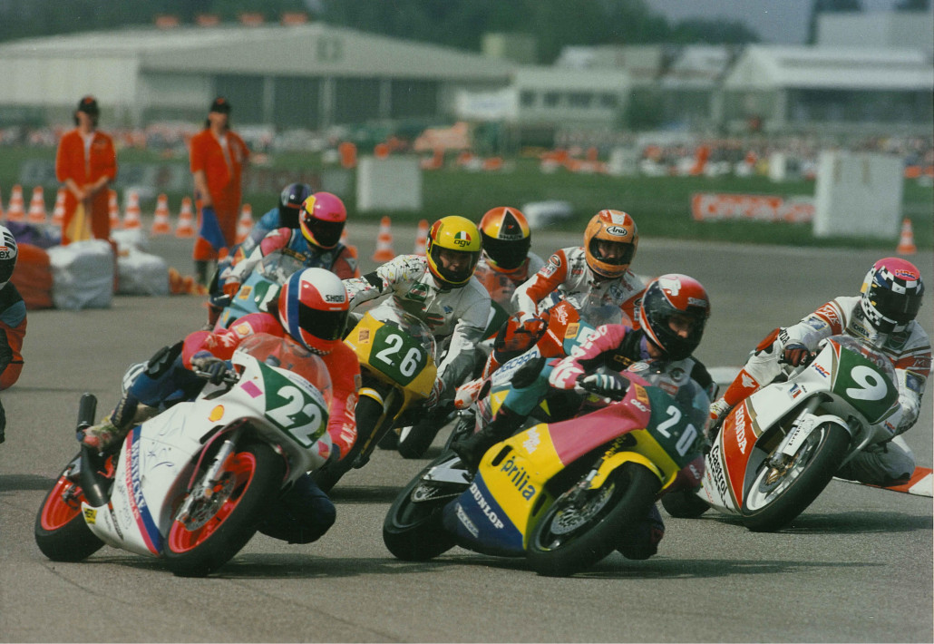 Speyer 1993. Can Akkaya's with no.9 in his first German IDM race. 60,000 fans watching the most competetive class on this planet- 250cc GP