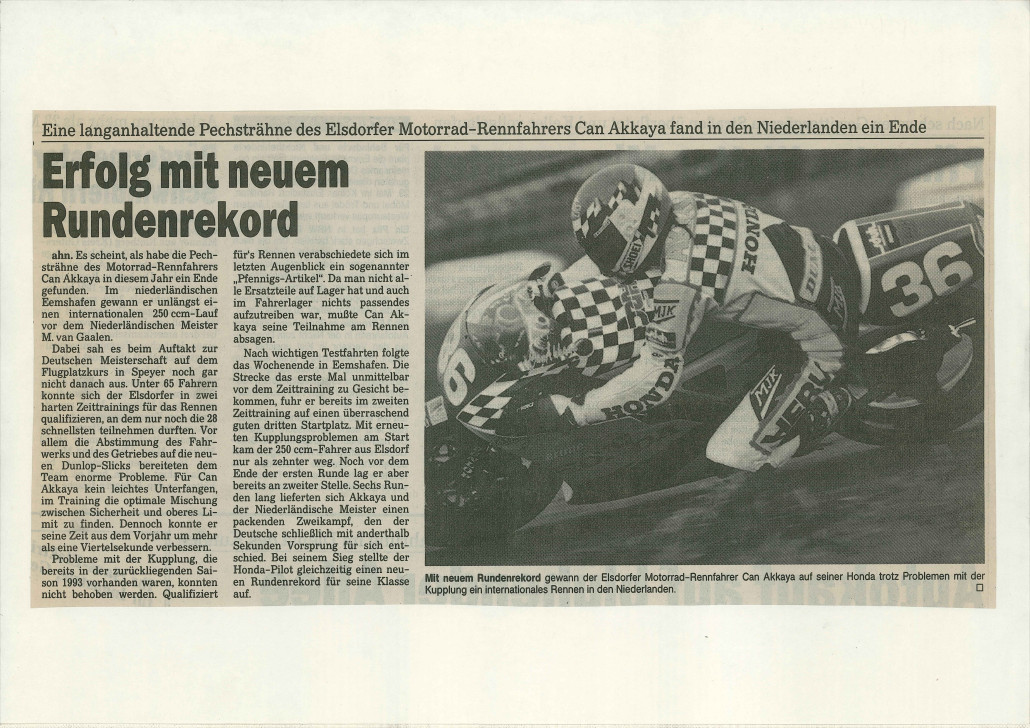 Success and lap record for Can Akkaya, announces the Werbepost News about his race in Eemshaaven 1994